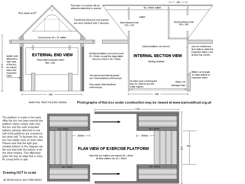 Pole-mounted nest box for Barn Owls - The Barn Owl Trust